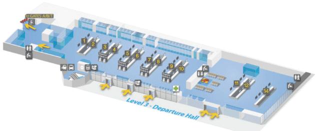 vertrekhal 1 en 2 op verdieping 3 van de terminal